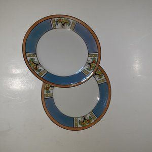 Vintage Dining - Vintage Pair Blue Lusterware Saucers Small Plates
